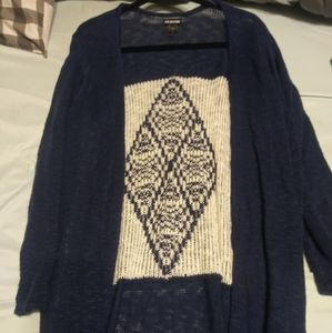 Cardigan - Blue with a white tribal design